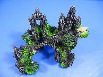 Tree House Rock Cave Bridge Fish Tank Decoration 20.5X 12.5 X 16cm