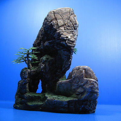 Mountain Aquarium Ornament tree 21x13.5cm - Rock Cave stone HIDE decor fish tank