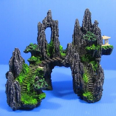 Fish Tank Decoration | Tree House Cave Bridge | Mountain View Aquarium Ornament