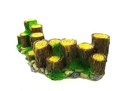 "Wood fence Aquarium Ornament Driftwood 6"" - Decoration fish tank Tree trunk rock"