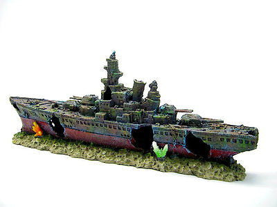 Warship Cave Aquarium Ornament L 49cm - Battleship ship decoration bonsai NAVY
