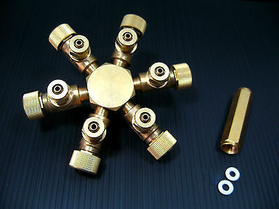 6 way Brass CO2 splitter - Regulator Solenoid Diffuser