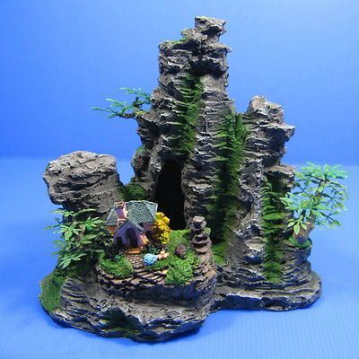 Mountain Aquarium Ornament tree 24x17.5cm - Rock Cave stone HIDE decor resin PET