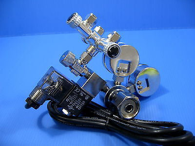 3way Brass CO2 splitter Tri-Regulator + CO2 Solenoid Regulator - Diffuser Valve