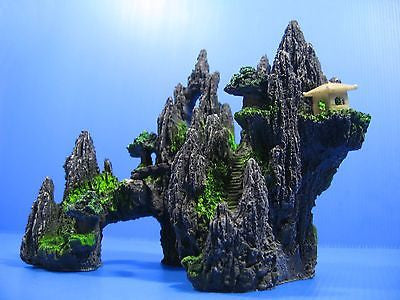 Mountain View Tree House Rock Cave Bridge Fish Tank Decoration