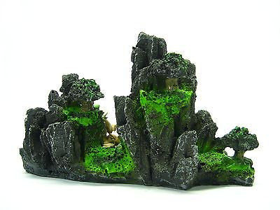 "Fisherman Mountain View Aquarium Ornament tree 6.1""x2.9""- Rock bonsai decoration"