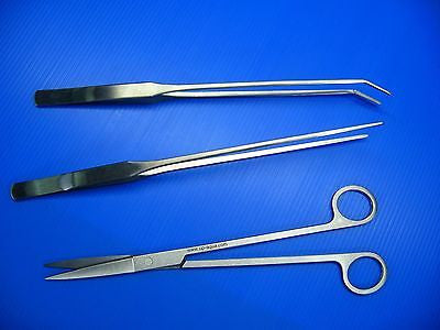 3Pc Aquarium Plant Pro Tools Set Scissors Tweezers new