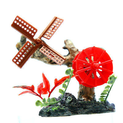Waterwheel Windmill Bubbles 10cm Aquarium Ornament  Decor fish tank Tree trunk
