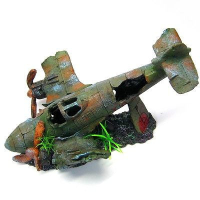 "Bomber Aquarium Ornament 13.3"" L- Fighter airplane aircraft decoration fish tank"