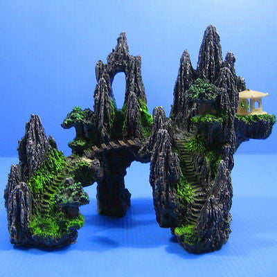 Mountain View Aquarium Ornament 20.5cm Decoration fish tank - Rock Cave stone