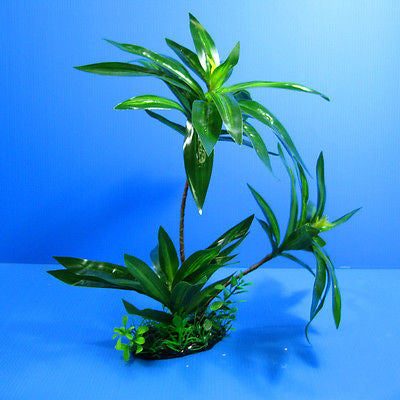 "3D Aquarium PLASTIC PLANTS 11.8""L Ornament fish Decor"