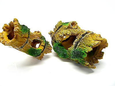 2pcs Bamboo Cave SET Aquarium Ornament Decoration - resin trunk fish hide dodge