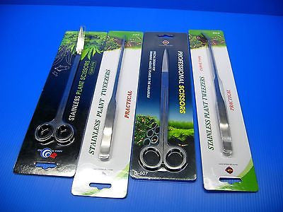 4Pc Aquarium Plant Tools Set Scissors X2 Tweezers X2 for water plant fish tank