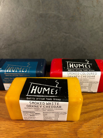 Humes smoked white Orkney Cheddar (yellow wax)