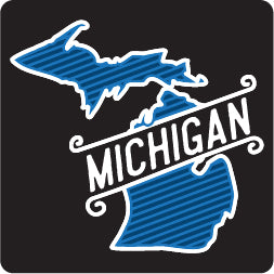 Retro Slant Michigan Lg Decal