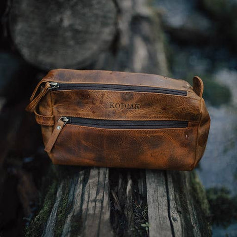 Leather Toiletry Bag DK Wallnut