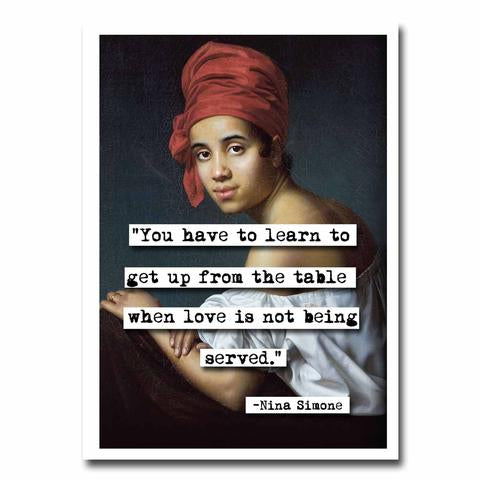 NINA SIMONE HAVE TO LEARN QUOTE BLANK GREETING CARD