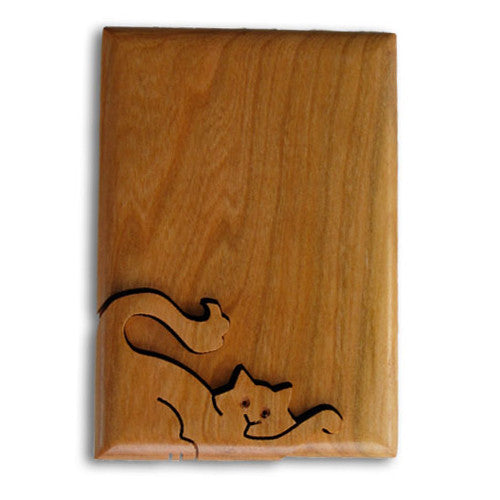 Cat Key Puzzle Box Wood