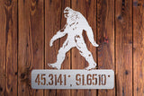 Sasquatch Coordinates Metal Sign