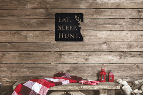 Eat. Sleep. Hunt. Whitetail Buck Metal Sign