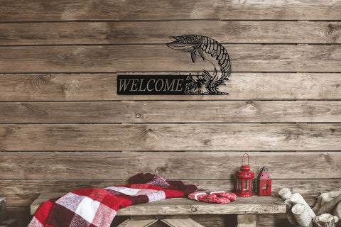 Welcome Musky Metal Sign