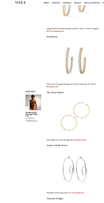 Vogue online, gold hoop earrings, the hoop station, georgiana scott jewellery