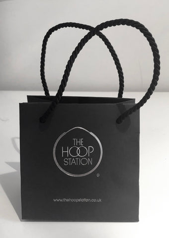 real silver hoops & shopping bags
