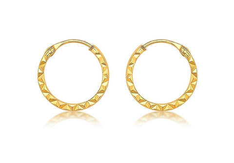La CHISELLED ORO - (9 carat) Gold Huggies - 2 x sizes - Georgiana Scott Jewellery