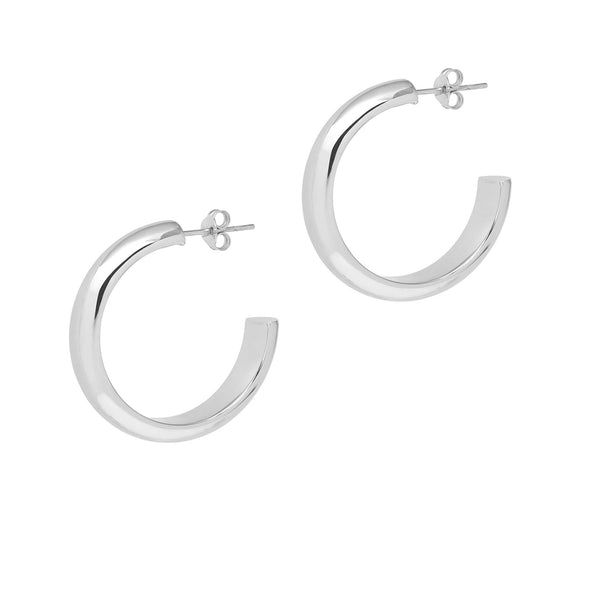 La MEZZA CURVA - Silver - The Hoop Station 925 Sterling Silver Hoop Earrings Gold Huggies