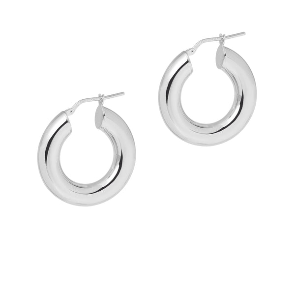 La 80's CURVACEOUS SHINY - The Hoop Station 925 Sterling Silver Hoop Earrings Gold Huggies