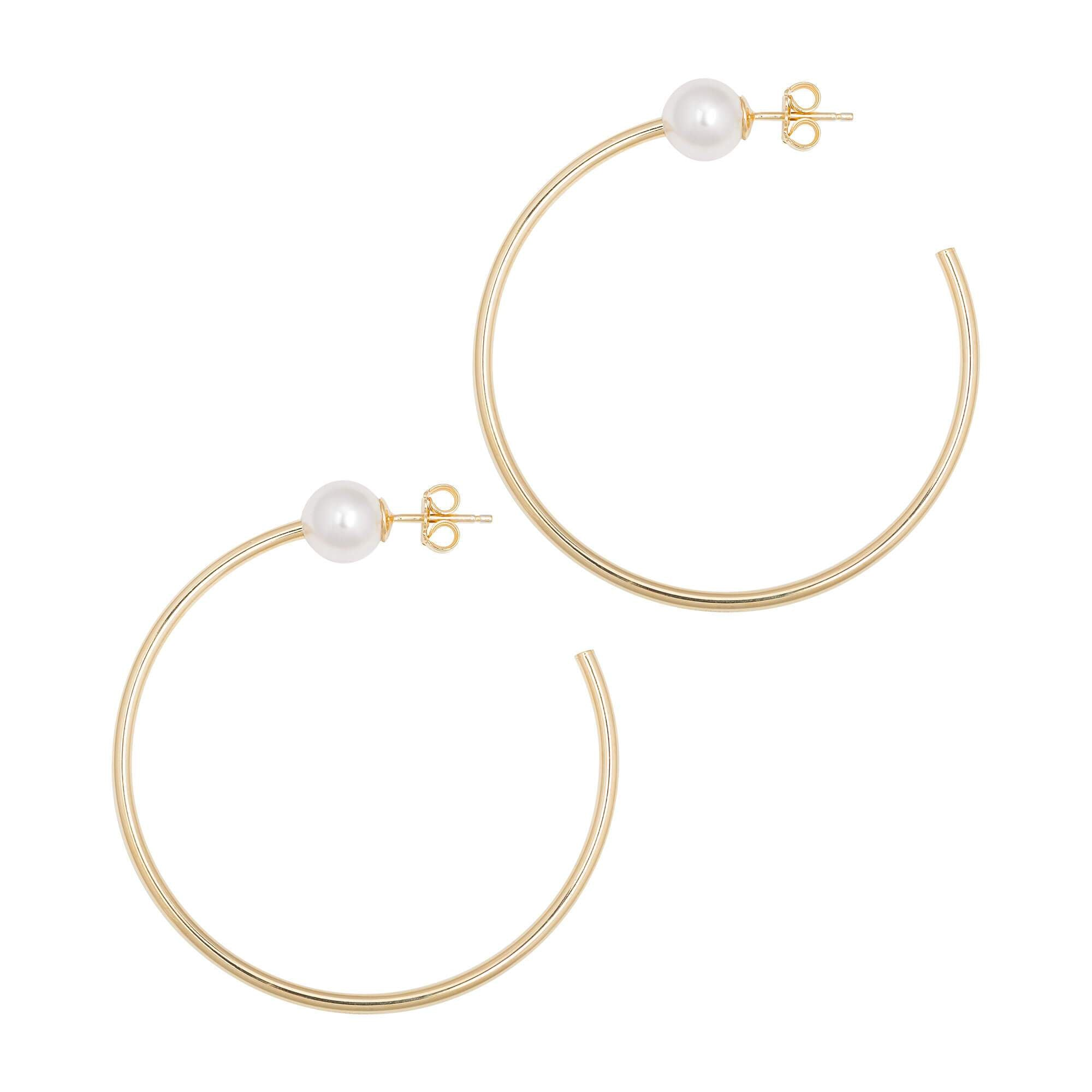 La PERLA Pearl Hoops - Gold - The Hoop Station 925 Sterling Silver Hoop Earrings Gold Huggies