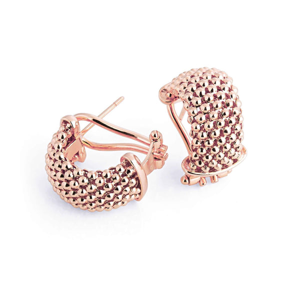 La FIESOLE WEAVE - Rosegold - The Hoop Station 925 Sterling Silver Hoop Earrings Gold Huggies