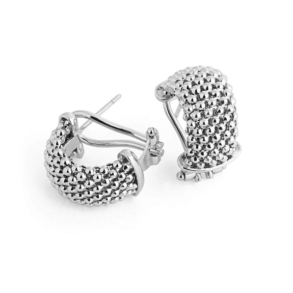 La FIESOLE WEAVE - Silver - The Hoop Station 925 Sterling Silver Hoop Earrings Gold Huggies