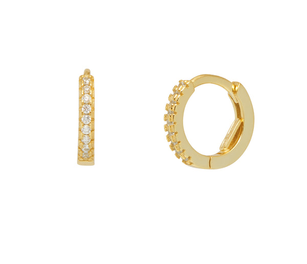 La CZ (Hidden Clasp) Huggies - Gold - The Hoop Station 925 Sterling Silver Hoop Earrings Gold Huggies