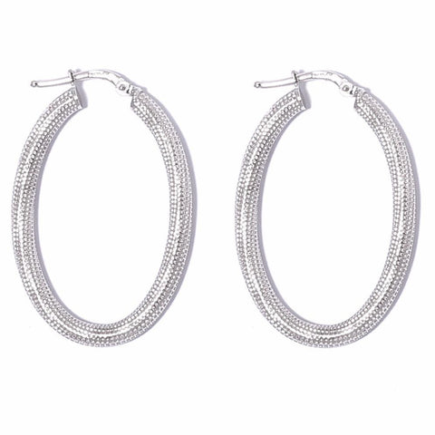 La MILANO Oval Silver Medio Hoops - SALE