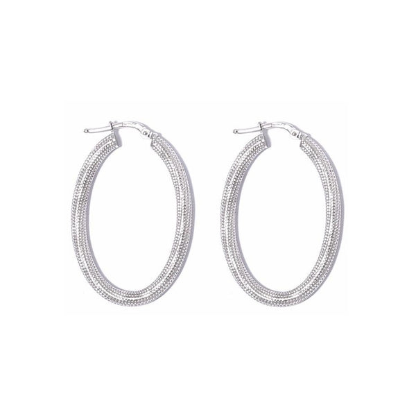 La MILANO Oval Silver Piccolo Hoops - SALE