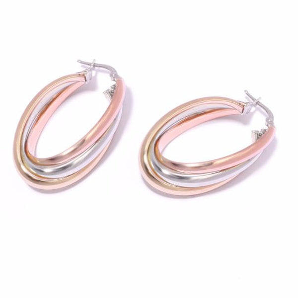 3 colour hoops, russian wedding hoops, cartier style, silver hoop earrings