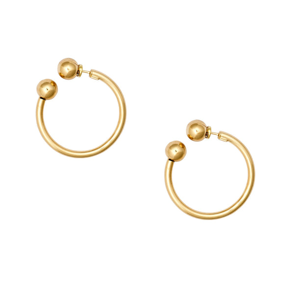 La TORO - Gold - The Hoop Station 925 Sterling Silver Hoop Earrings Gold Huggies