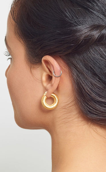 La SATINA CUSHION - Gold - The Hoop Station 925 Sterling Silver Hoop Earrings Gold Huggies