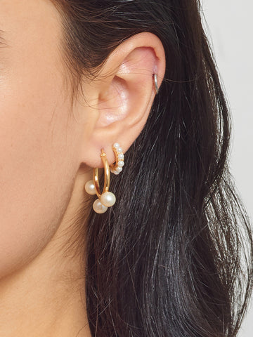 La PERLA Huggies - Seed pearls - The Hoop Station 925 Sterling Silver Hoop Earrings Gold Huggies