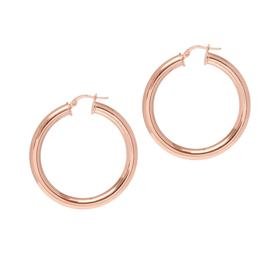 La TUBO - Rosegold - The Hoop Station 925 Sterling Silver Hoop Earrings Gold Huggies