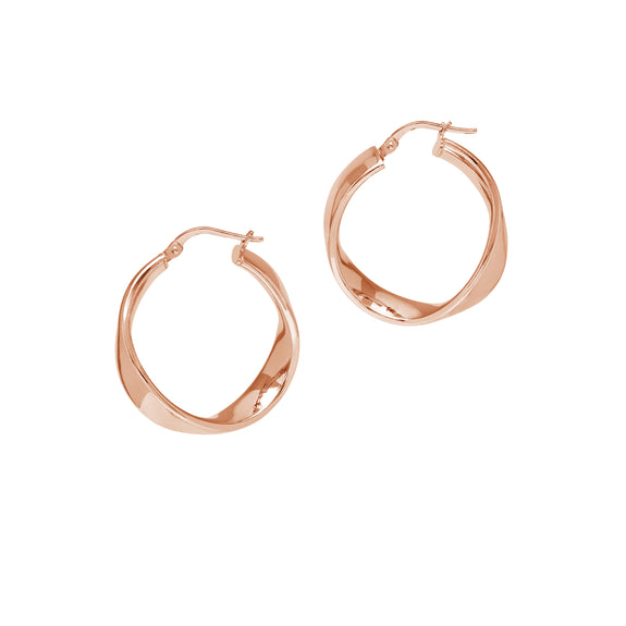 La WAVE CUFF - Rose Gold - The Hoop Station 925 Sterling Silver Hoop Earrings Gold Huggies