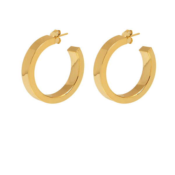 La 80s SQUARE Hoops - Gold - The Hoop Station 925 Sterling Silver Hoop Earrings Gold Huggies