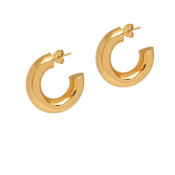 La 80s CURVACEOUS - Gold - The Hoop Station 925 Sterling Silver Hoop Earrings Gold Huggies