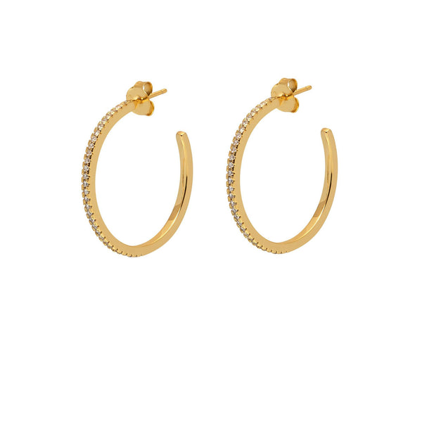 La ETERNITA & CZ - Midi - The Hoop Station 925 Sterling Silver Hoop Earrings Gold Huggies