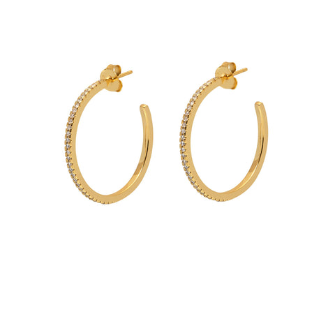 La SPARKLING CZ ETERNITA - Gold - The Hoop Station 925 Sterling Silver Hoop Earrings Gold Huggies