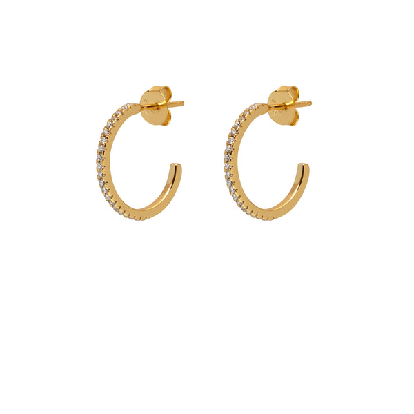 La ETERNITA & CZ- Piccolo - The Hoop Station 925 Sterling Silver Hoop Earrings Gold Huggies