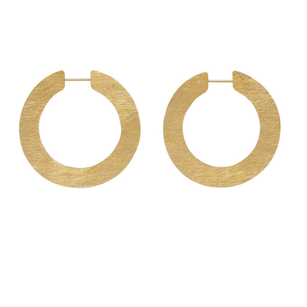 LA SATINA SLICE Medio - Gold - The Hoop Station 925 Sterling Silver Hoop Earrings Gold Huggies