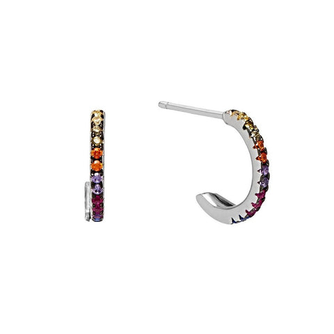 La TUTTI FRUTTI - Huggies - The Hoop Station 925 Sterling Silver Hoop Earrings Gold Huggies