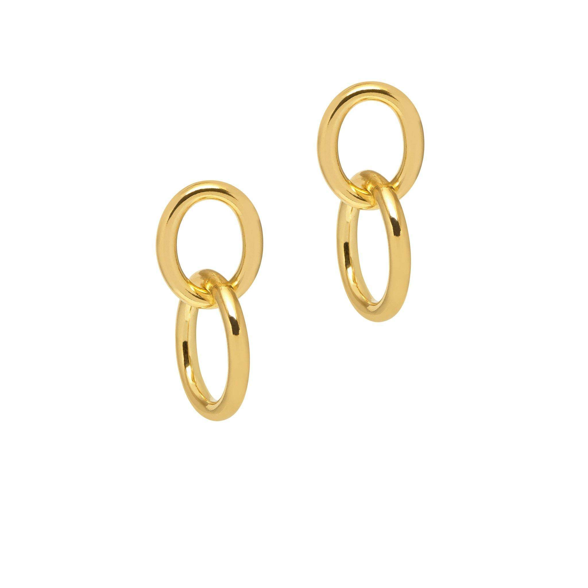 La CATENA Double Loops Gold - SALE - The Hoop Station 925 Sterling Silver Hoop Earrings Gold Huggies